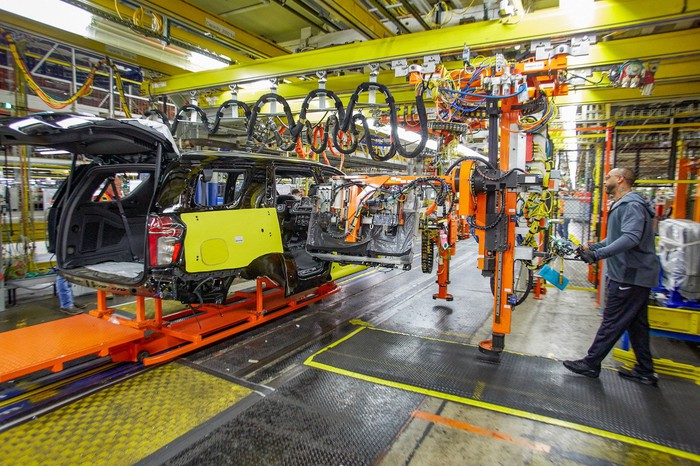 A partially-assembled Chevrolet Tahoe SUV on the assembly line at a GM factory in Arlington, Texas.