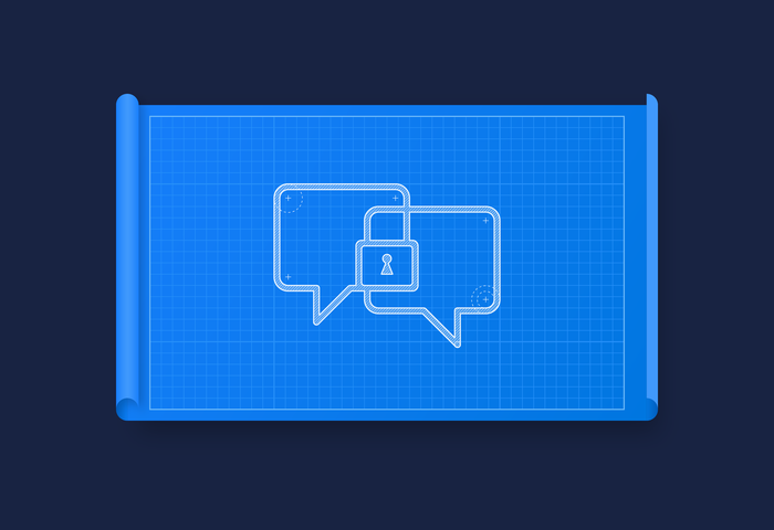 Two chat bubbles overlapping to create a lock icon
