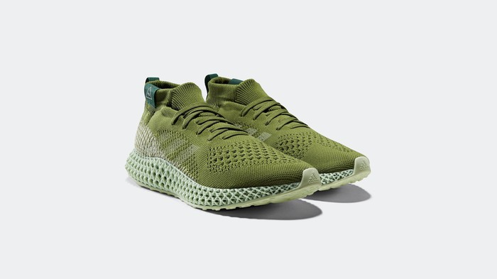 A green pair of shoes from Adidas.