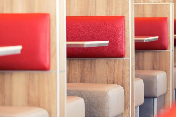 Empty restaurant booths.