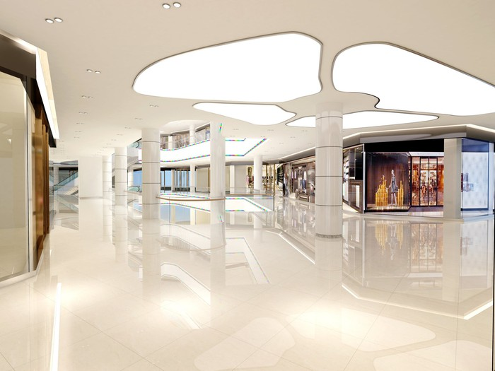 An empty mall interior.
