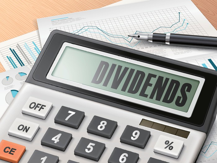 "a calculator sits on financial charts while showing the word ""dividends"" on its screen"