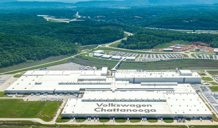 VW's assembly plant in Chattanooga, viewed from the air.