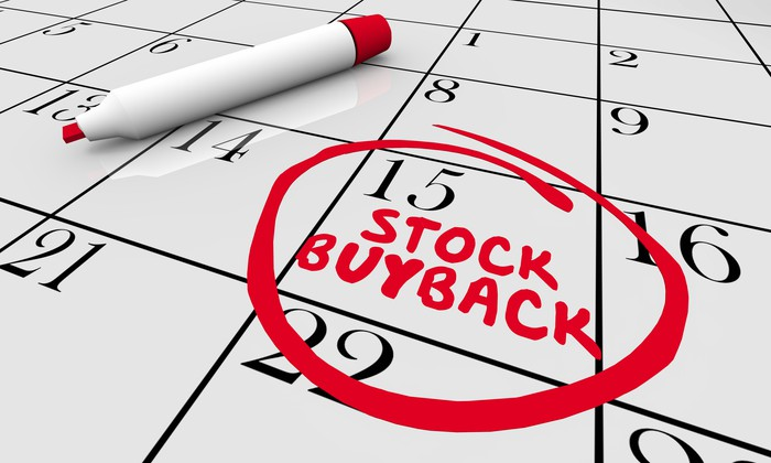 "A calendar with ""Stock Buyback"" written in red marker."