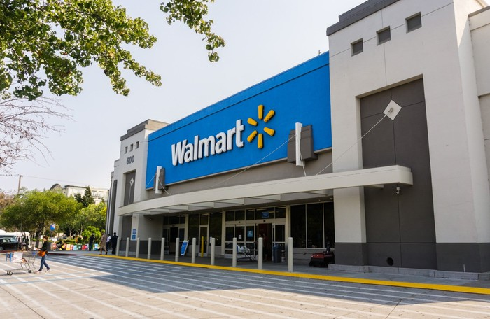 The exterior of a Walmart.