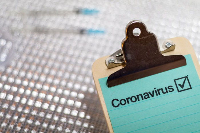 On a clipboard, the word coronavirus appears beside a checked-off box