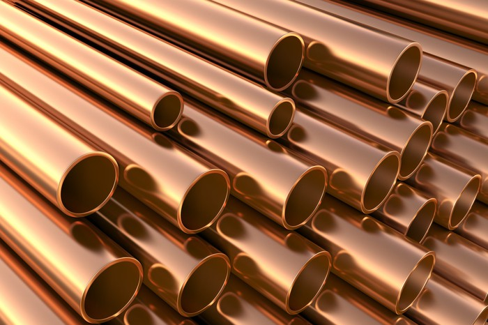 Copper pipes in a warehouse.