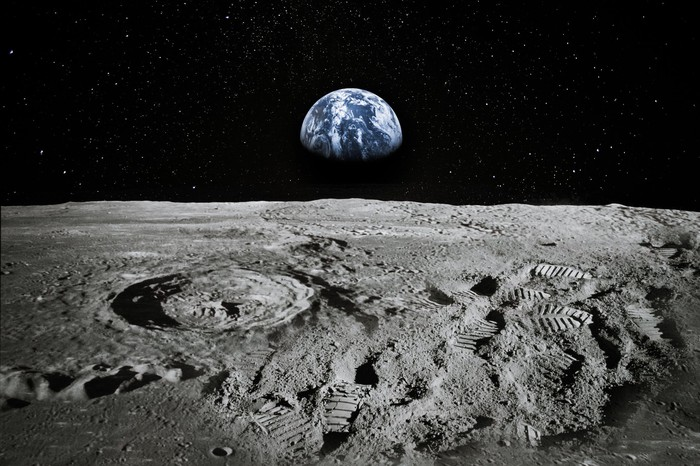 A view of the earth from the moon's surface.