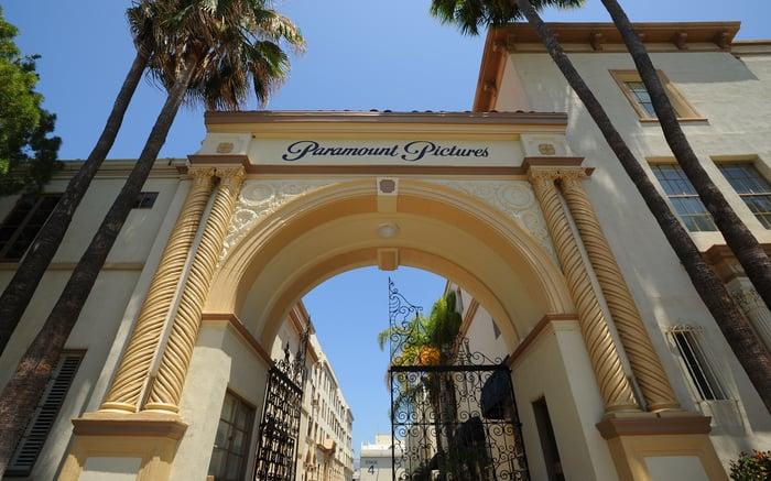 The front gate of ViacomCBS' Paramount film studios.