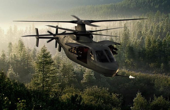 Rendering of the Raider X on patrol over a forest setting.