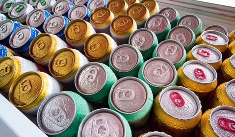 cans chilled on ice