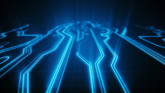 Glowing blue lines on a circuit board.
