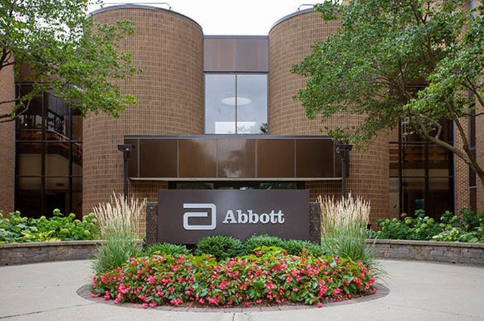 Abbott Labs sign in front of one of the company's office buildings