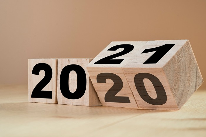 Wooden blocks with numbers on them, turning to change from 2020 to 2021.