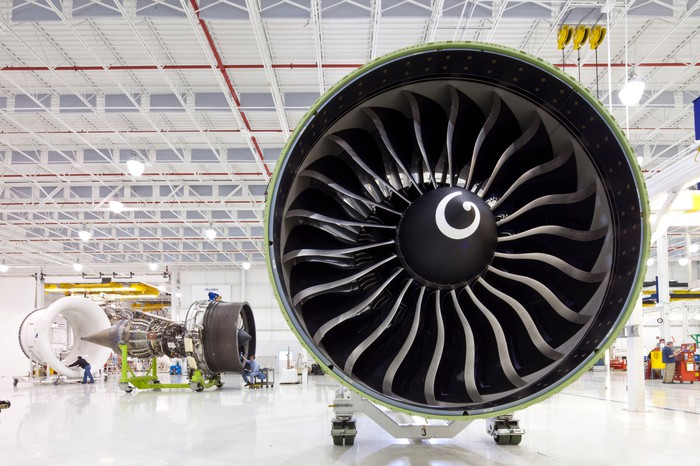 A GE90 engine in a factory.