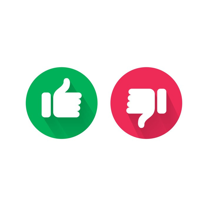 Green like button and red dislike button