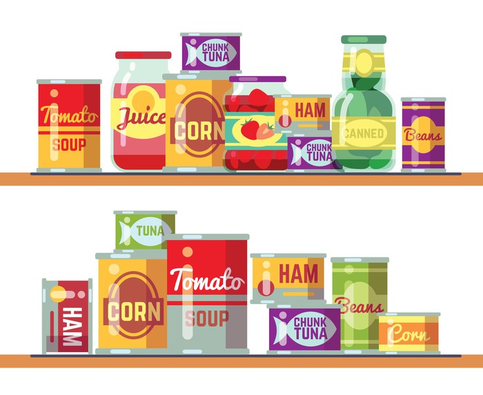 Cartoon depiction of canned goods on two shelves