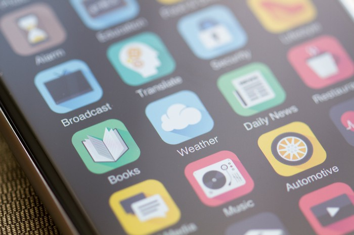 A range of mobile applications is displayed on a smartphone
