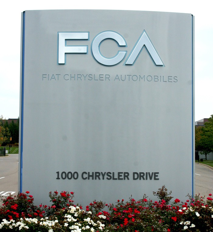 A sign with the FCA logo at the company's U.S. headquarters in Auburn Hills, Michigan.