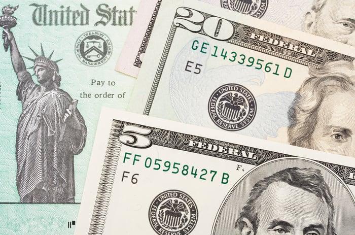 Money on top of US Treasury check.