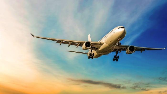 A Boeing 787 airplane in flight.