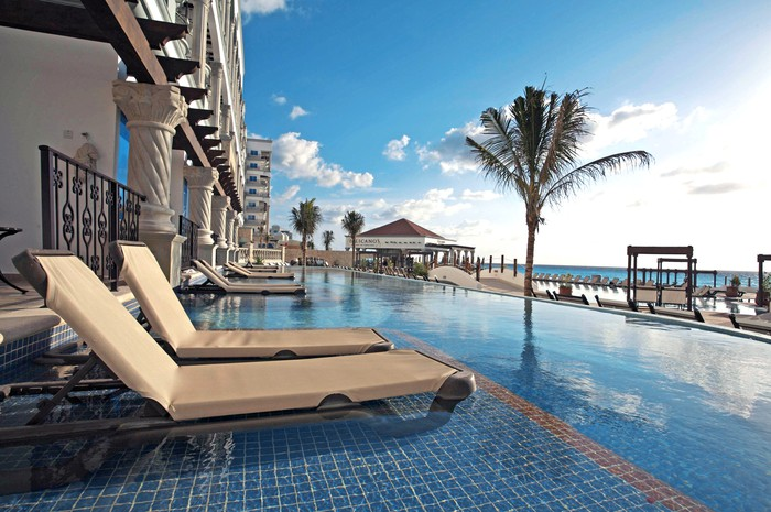 The pool at a Hyatt hotel in Cancun.