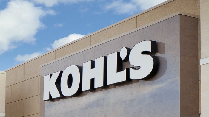 A Kohl's sign on the outside of a store.