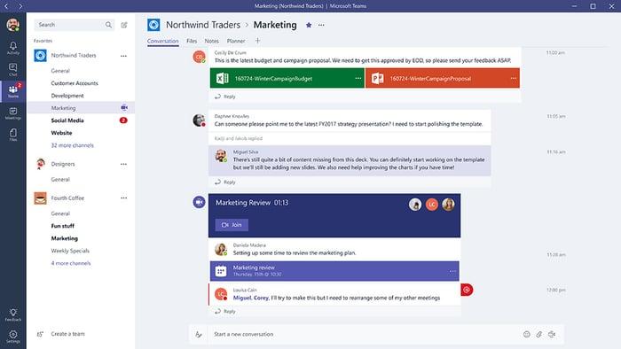 Microsoft Teams app interface
