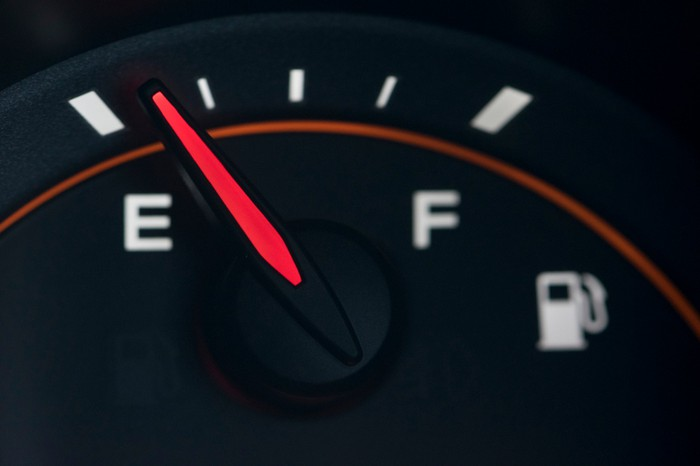 Automobile gas gauge nearing empty