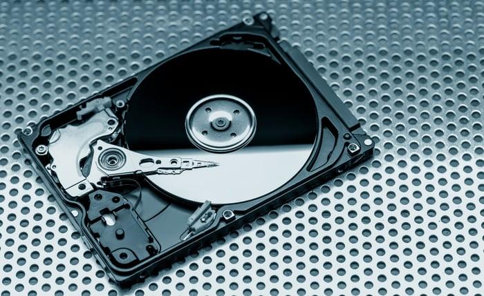 A platter-based hard disk drive.
