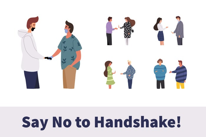 Cartoon showing many people declining an offered handshake in various ways. Below, a text banner reads Say no to handshake!