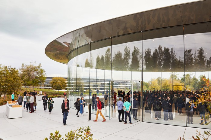 Guests arriving at the Steve Jobs theater at Apple Campus.
