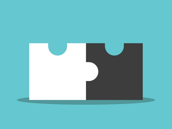 Graphic of two jigsaw-puzzle pieces connecting
