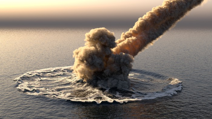 Meteor impacting in the ocean