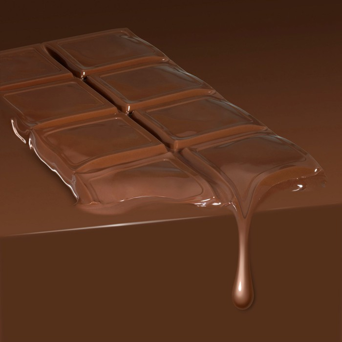 A melting chocolate bar drips down.