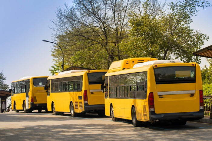 Alternative school buses lined up