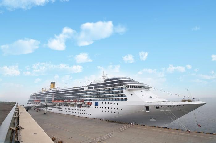 Carnival ship docked in China.