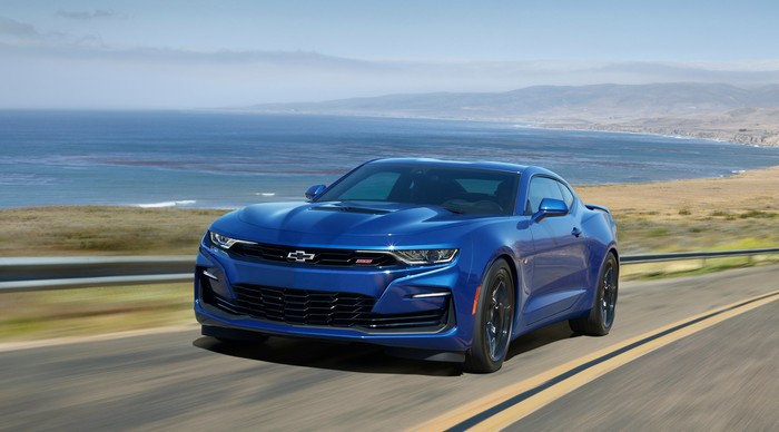A blue 2020 Chevrolet Camaro SS, a two-door sports coupe.