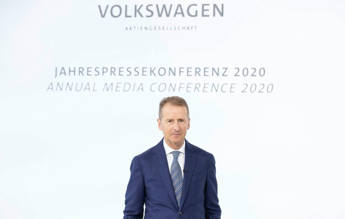 Diess is shown speaking at VW's annual conference in March 2020.
