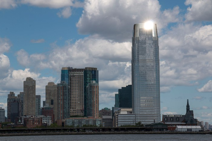 The Goldman Sachs Tower looms above the skyline in Jersey City, New Jersey.