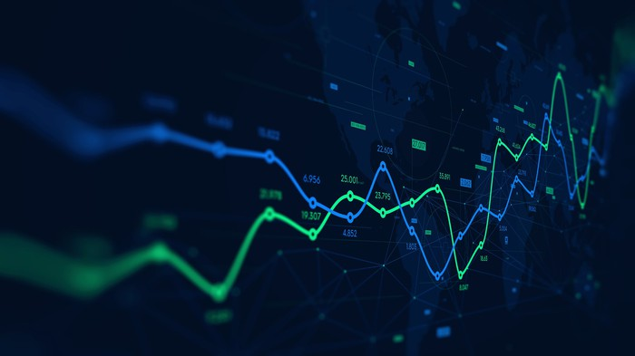 Green and blue criss- crossing stock trend lines