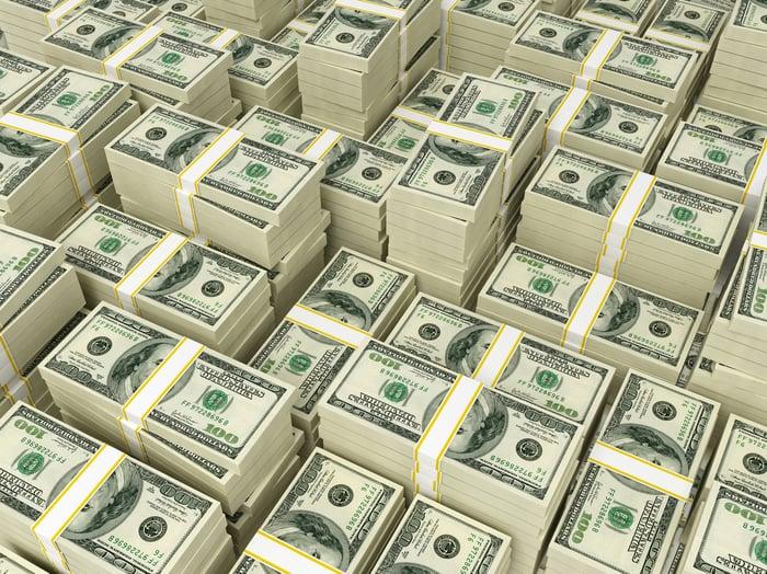 Banded stacks of $100 bills