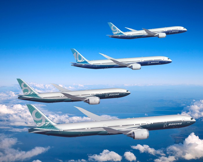 A variety of Boeing widebody models flying in formation.