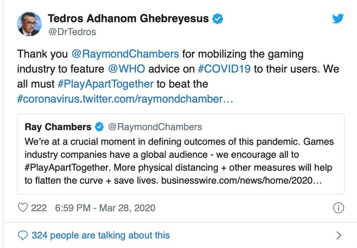 Screenshot of a tweet from the head of the World Health Organization praising the video gaming industry for stay-at home advice