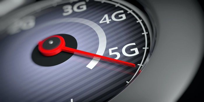A speedometer shifting from 4G to 5G.