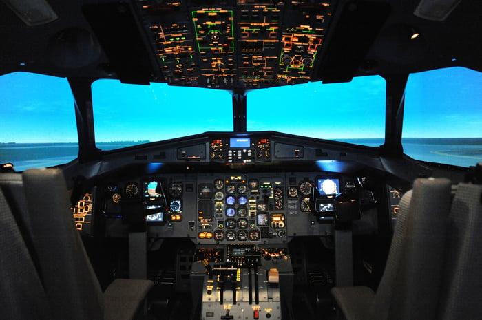 An airplane simulator.