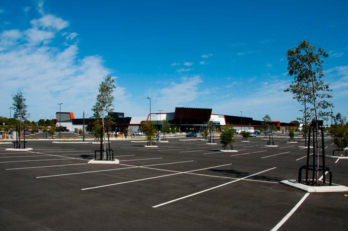 A large, empty parking lot.