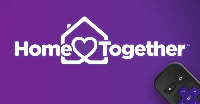 The Roku Home Together logo and a Roku remote.