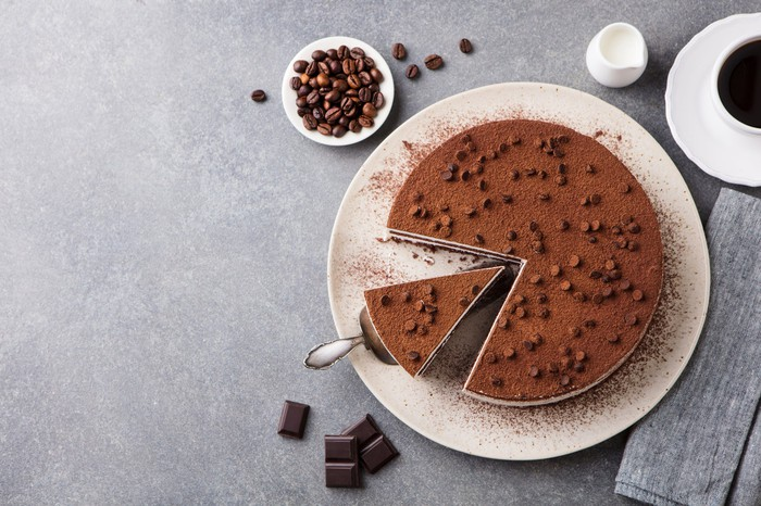 A chocolate-topped cheesecake from above.