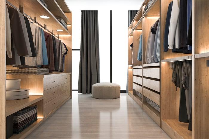 A walk-in wardrobe
